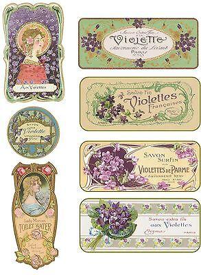 Vintage 7 violet perfume Paris label illustrations on glossy paper crafts