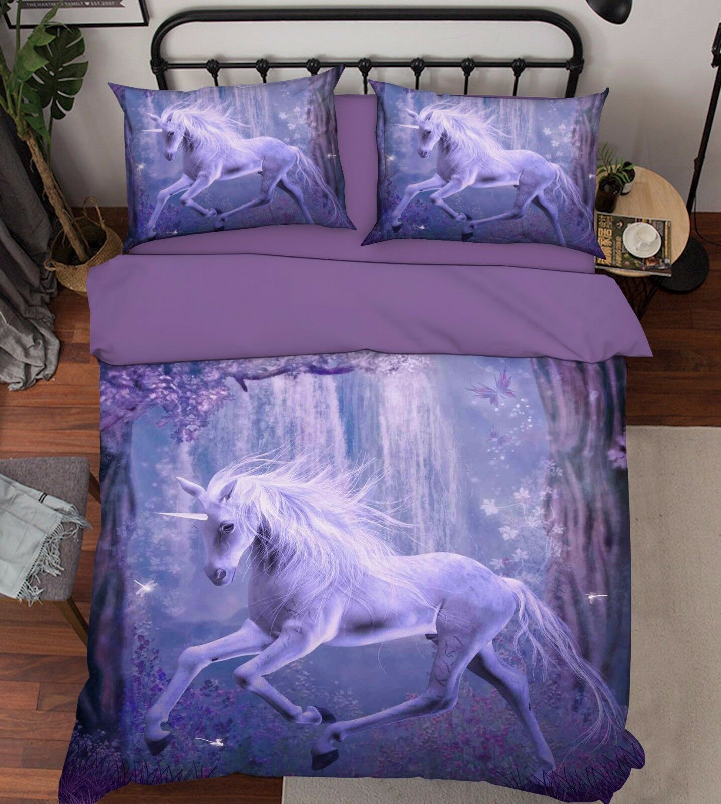 3D Unicorn Forest 521 Bed Pillowcases Quilt Duvet Cover Set Single Queen CA