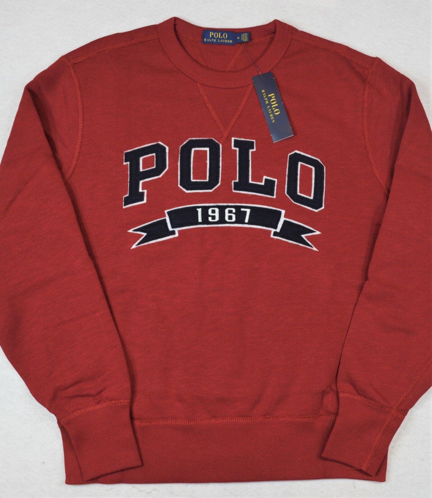 Polo Ralph Lauren Fleece Sweatshirt Logo Patch Cotton Blend Red XL NWT
