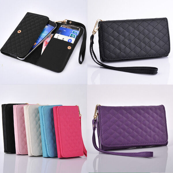 7 Color Universal Credit Card Slot Wallet Bag Leather Case Cover For Phone+Strap