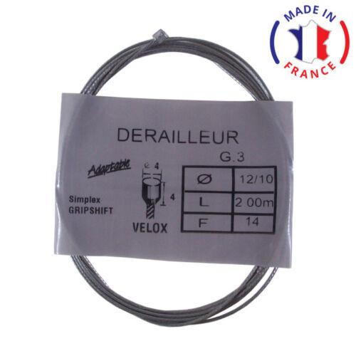 CABLE DE DERAILLEUR VELOX VELO UNIVERSEL 1.2MM 2M SHIMANO SIMPLEX GRIPSHIFT