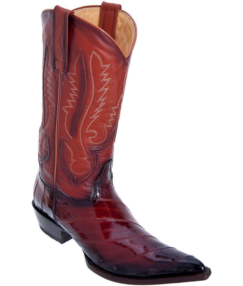 LOS ALTOS hombres Cognac 3X-TOE Original Bota de vaquero occidental eel Skin 95V0857 Extra Ancho