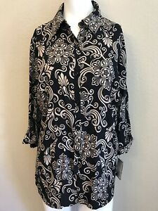 Ladies-Size-Medium-Blouse-Tunic-Black-Tan-New-With-Tags