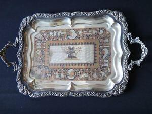 Ancien-plateau-egyptien-bronze-metal-retour-d-039-Egypte-Old-egyptian-tray-1940