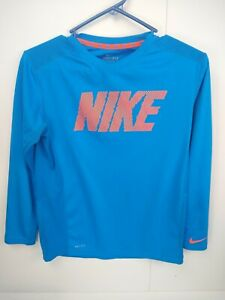 318b8f6f0 Kids Boys Nike Spell Out Long Sleeve Athletic T Shirt Dri Fit Youth ...