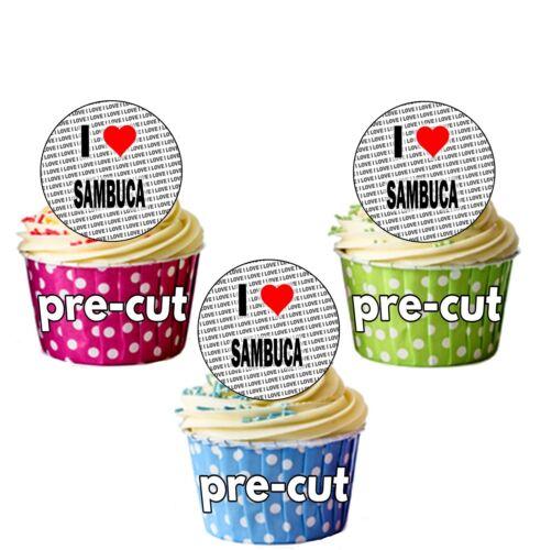 24 Edible Cupcake Toppers Cake Decorations Precut Circles I Love Sambuca