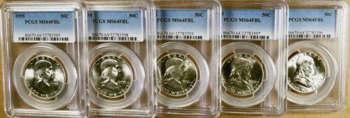 1955 PCGS MS64 FBL Franklin Half Dollar 100/% White