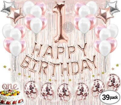 """30Th Birthday Decorations 40/"""" GOLD Balloons PINK /& Happy For Women Banner ROSE T"""