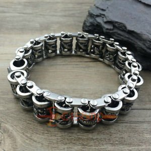 01b843afe7146 Details about Heavy Men Women Stainless Steel Tribal Chinese Dragon Bike  Chain Link Bracelet