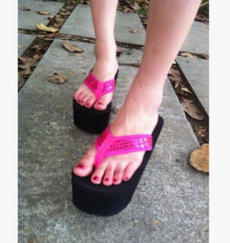 Fashion Women/'s Sequins Thong Platform Wedge Heels Flip Flops Beach Sandals New