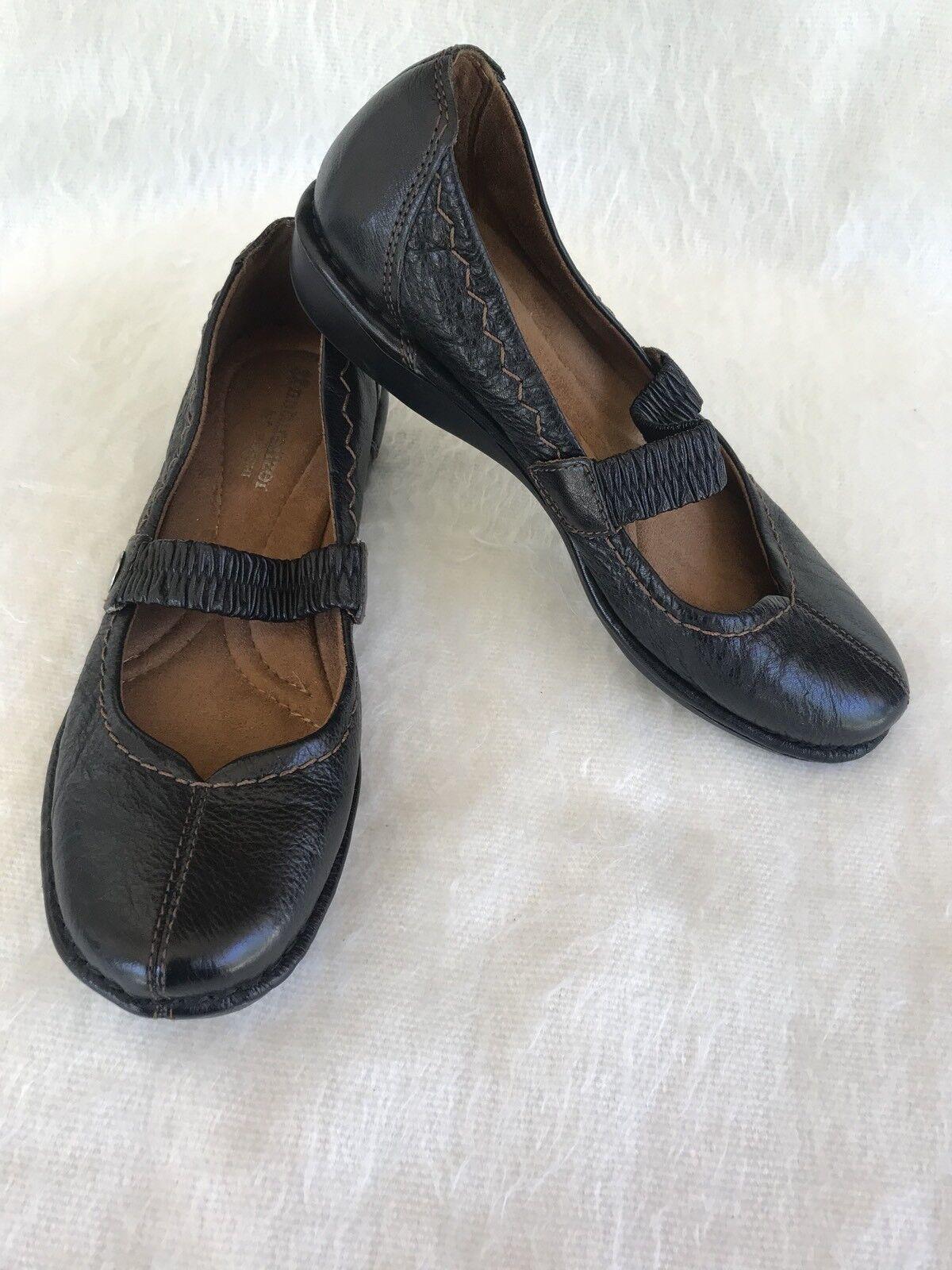 Naturalizer Revolve Shoes Size 6.5 Black Leather Shoes Revolve Orthopedic Flat Slip On Strap a36547