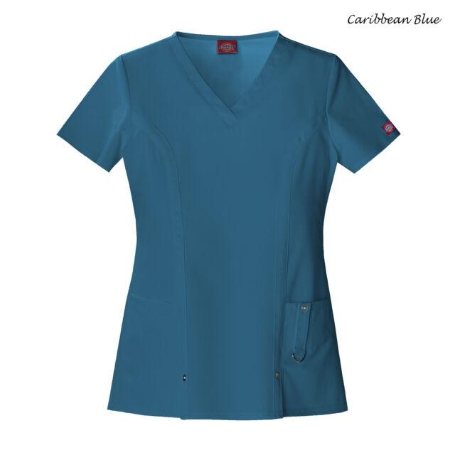 701c33845b6 Dickies Scrubs Xtreme Stretch Scrub Top 82851 Caribbean Blue Junior ...
