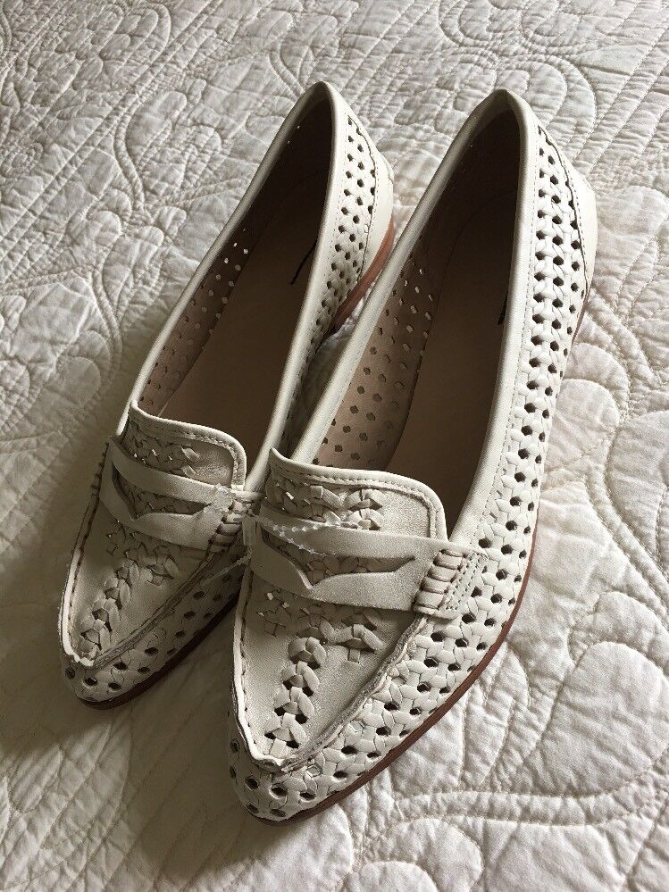 New J Crew Collins Woven-pelle Loafers in  Vintage Champagne Sz 10 G4661