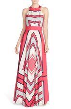 Eliza J Scarf Print Crêpe de Chine Fit & Flare Maxi Dress Pink Halter Sz 6 - S