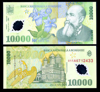 Romania 10000 10,000 Lei Polymer P-112 UNC 2000 Lot 5 PCS