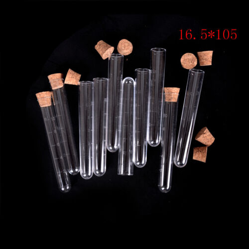 10Pcs Plastic Clear Test Tube With Cork Lab Science Wedding Favour Tube TDO