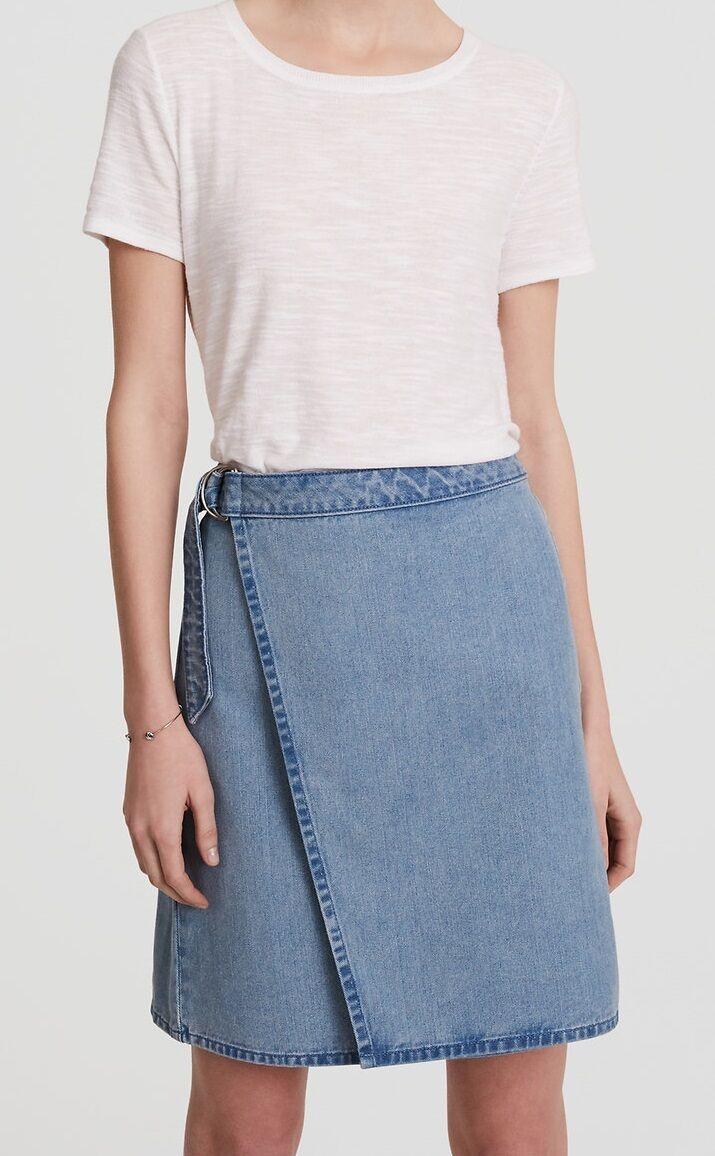 Ann Taylor LOFT Cotton Denim Wrap Skirt Size 4, 10 NWT Light Mid Indigo Wash