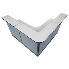 80w X 80d X 46h L Shaped Reception Station With Raceway Gray Counterblue