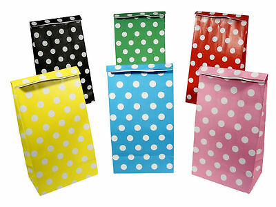 10 Polka Dot Spots Red Treat Loot Party Sweet Candy Paper Bags