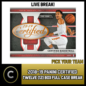2018-19-PANINI-CERTIFIED-BASKETBALL-12-BOX-CASE-BREAK-B069-PICK-YOUR-TEAM
