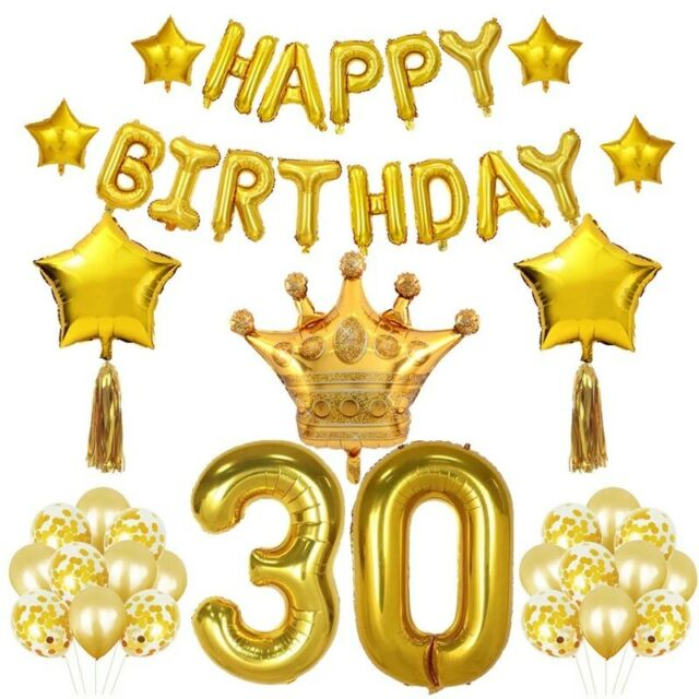 Happy 30th Birthday Bday PARTY ITEMS Decorations Tableware BLACK /& GOLD Age 30