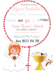 Personalised 1st First Holy Communion Invitations X10 With Envelopes