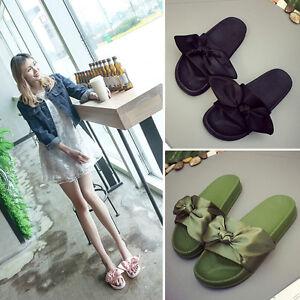 Women-Summer-Bow-Beach-Slipper-Flat-Slide-Slip-On-Home-Flip-Flops-Thong-Sandals