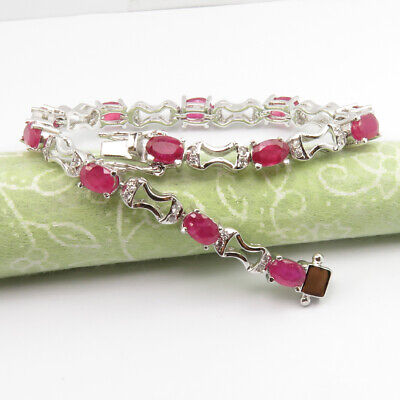 """Delicious 925 Sterling Silver Genuine Ruby Gemstone 7.4"""" Inches Bracelet Engagement & Wedding July Birthstone Discounts Sale"""