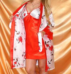 Romantik Satin Set (Kimono+Negligee) Gr. 38 40 42 Weiß mit Rosen Nachtwäsche