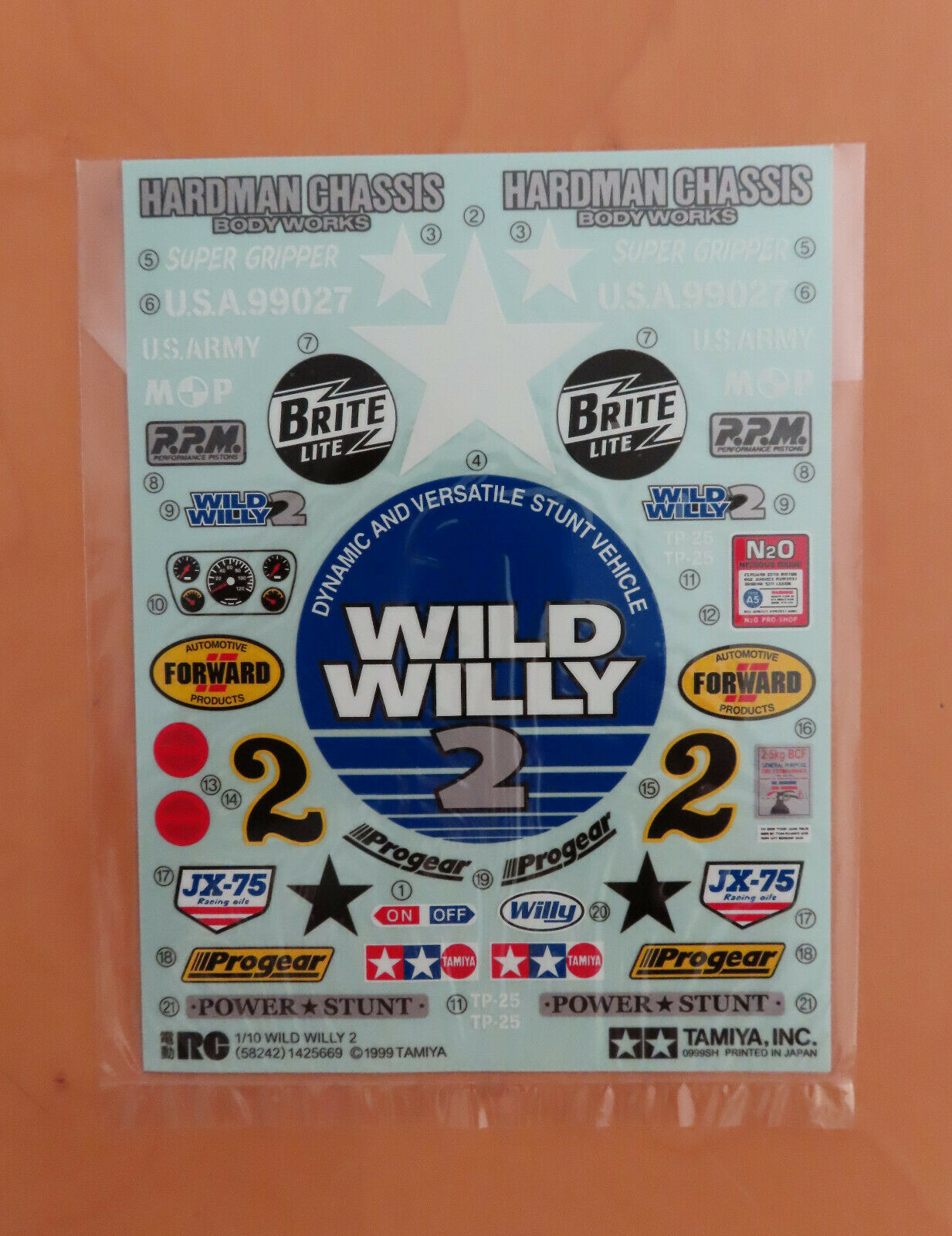 RC Tamiya Decal 58242 Wild Willy 2 NEU NIB 1999