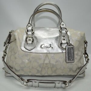 38c6368cec8b Image is loading Coach-Ashley-Lurex-Signature-Silver-Metallic-Leather-Trim-