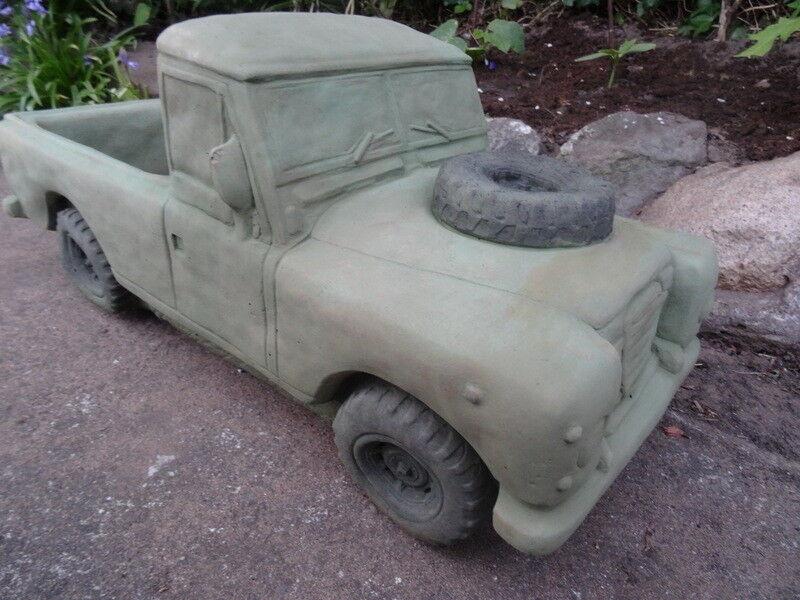1 English Stone Army grön Land Rover Car Garden Trough Pot Planter Ornament