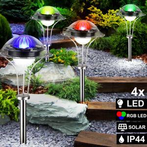 1x LED Solarleuchte Solar Leuchten Edelstahl Solarlampe Gartenleuchten Garten