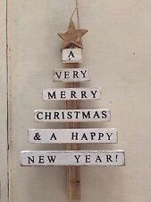 Rustic/driftwood mini plank Christmas tree decoration ornament 18cm (white)
