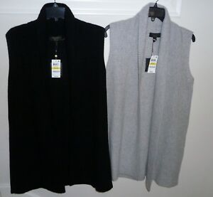 Charter-Club-100-Cashmere-Shaker-Stitch-Vest-M-Black-or-Ice-Grey-Heather-169