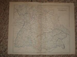 1850 ANTIQUE MAP INDEPENDENT SOUTHERN STATES OF GERMANY
