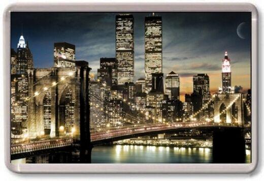 FRIDGE MAGNET - NEW YORK NIGHT - Large Jumbo - USA Twin Towers