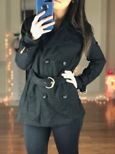INC-International-Concepts-Lightweight-Belted-Trench-Coat-Black-Women-039-s-S