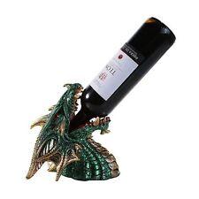 Medieval Fantasy Green Dragon Wine Bottle Holder Statue Bar Kitchen Table Decor