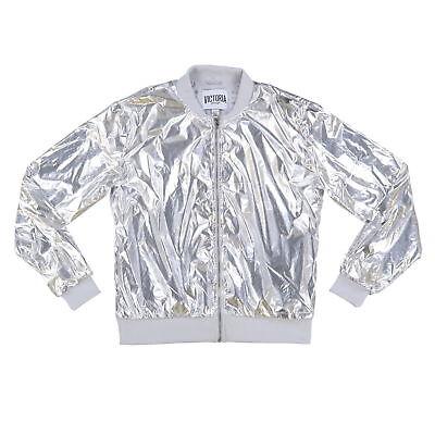 Victoria's Secret Sport Jacket Metallic Full Zip Work Out Bomber Silver Foil New