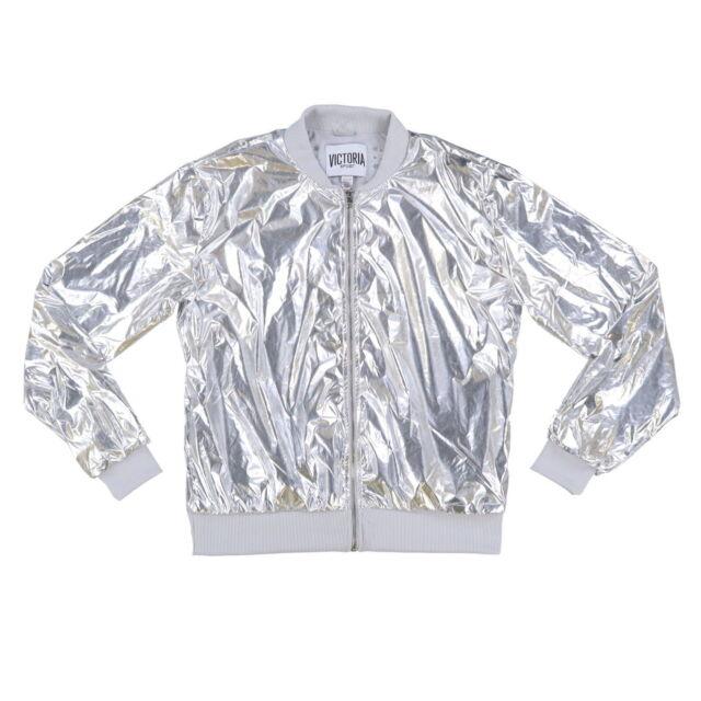 901a91391 Victoria's Secret Sport Silver Metallic Jacket Coat L ZIPPER Bomber Plastic