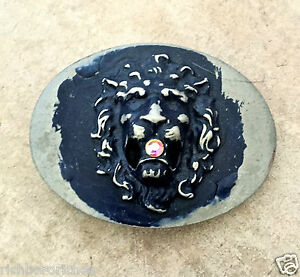 Belt Buckle Lion Head dark blue over pewter oval Belt Maison Handmade NEW 4 x 3