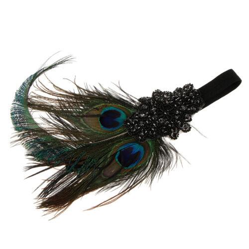 1920er  Flappers Haarband Stirnband Kopfband mit Feder und Perlen