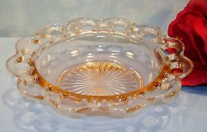 Anchor-Hocking-Old-Colony-Lace-Edge-Open-Lace-Pink-Depression-Glass-Cereal-Bowl