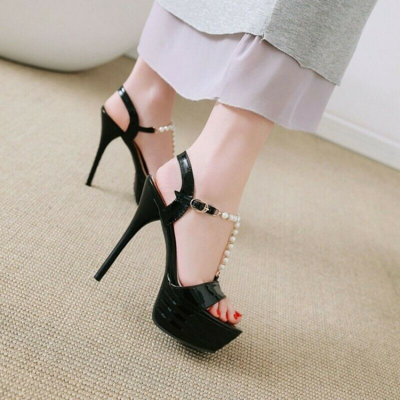 Donna Stiletto Platform Open toe Ankle Strap buckle Beaded Sandals Sandals Sandals Sweet Casual 22d831