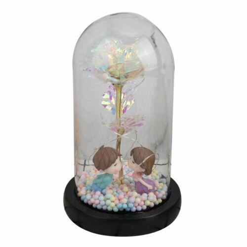 Die Schönheit und das Biest Bell Konservierte Rose im Glas Kuppel LED Geschenk