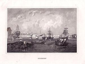 Bremen-Gesamtansicht-Dekorativer-Stahlstich-1845