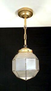 Vintage Pendentif Art Déco Luminaire géométrique Satin Verre Globe Porche Hall