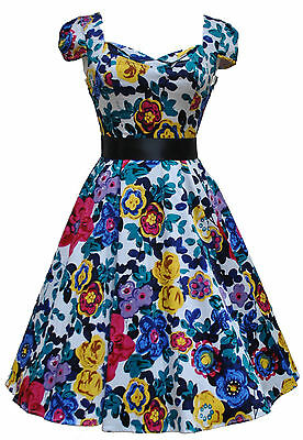 Analytisch Ladies 40's 50's Vintage Style Vibrant Floral Prom Party Tea Circle Dress 8-18