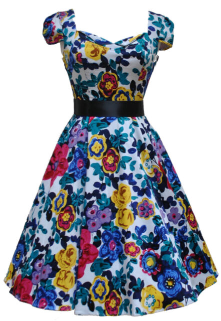 LADIES 40'S 50'S VINTAGE STYLE VIBRANT FLORAL PROM  PARTY TEA CIRCLE DRESS 8-18